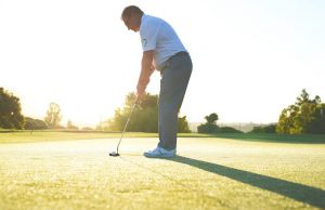 Increase golf shot, move slightly backward, optimum shot.